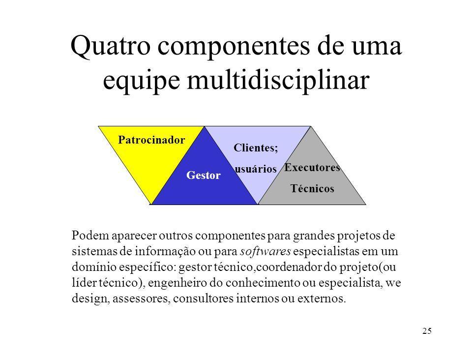 Quatro componentes de uma equipe multidisciplinar