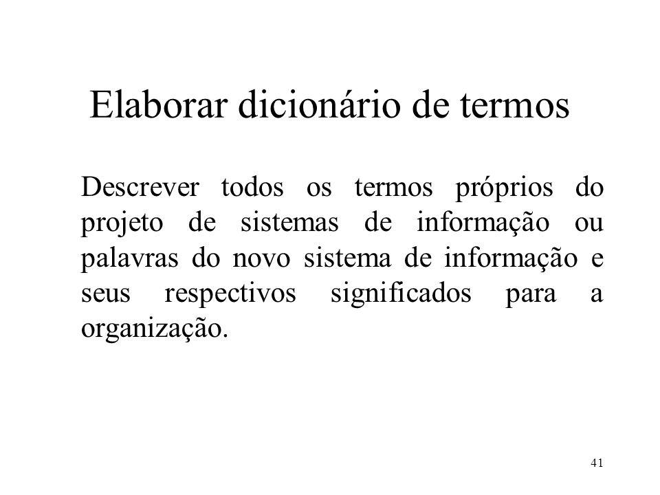 Elaborar dicionário de termos
