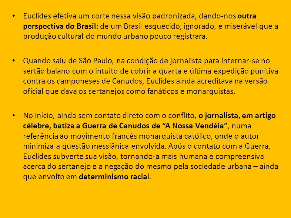 Euclides efetiva um corte nessa visão padronizada, dando-nos outra perspectiva do Brasil: de um Brasil esquecido, ignorado, e miserável que a produção cultural do mundo urbano pouco registrara.