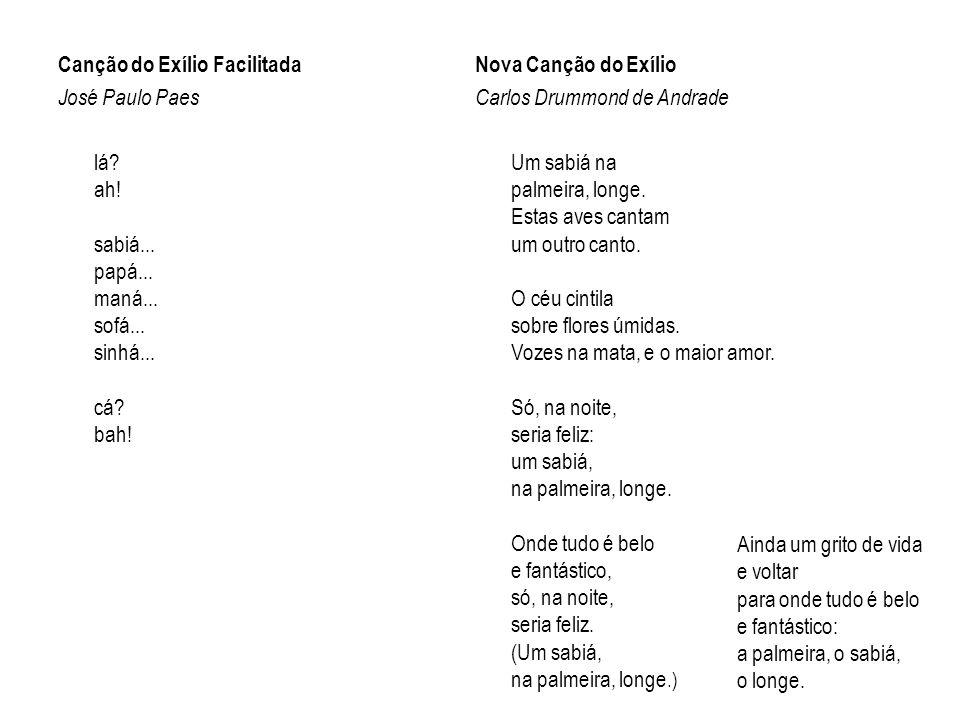 Canção do Exílio Facilitada José Paulo Paes lá. ah. sabiá. papá. maná