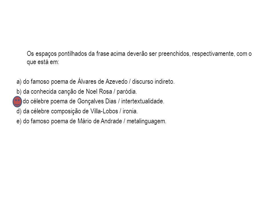 Os espaços pontilhados da frase acima deverão ser preenchidos, respectivamente, com o que está em: a) do famoso poema de Álvares de Azevedo / discurso indireto.
