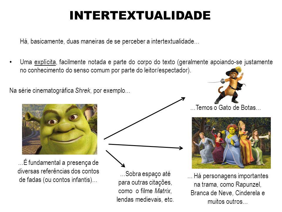 INTERTEXTUALIDADE Há, basicamente, duas maneiras de se perceber a intertextualidade...