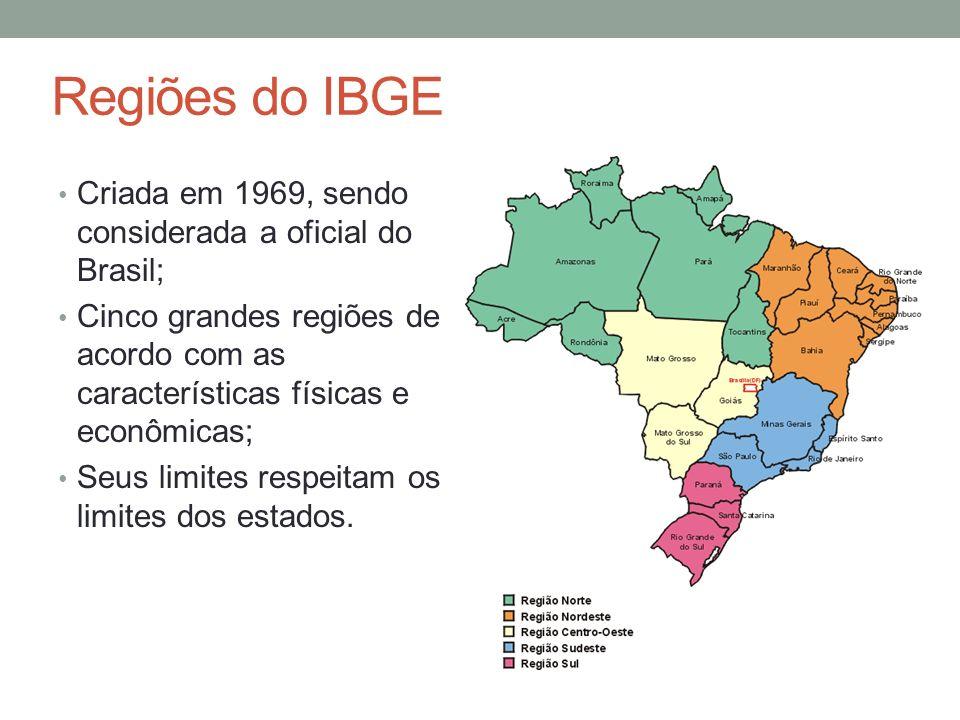 Regiões do IBGE Criada em 1969, sendo considerada a oficial do Brasil;