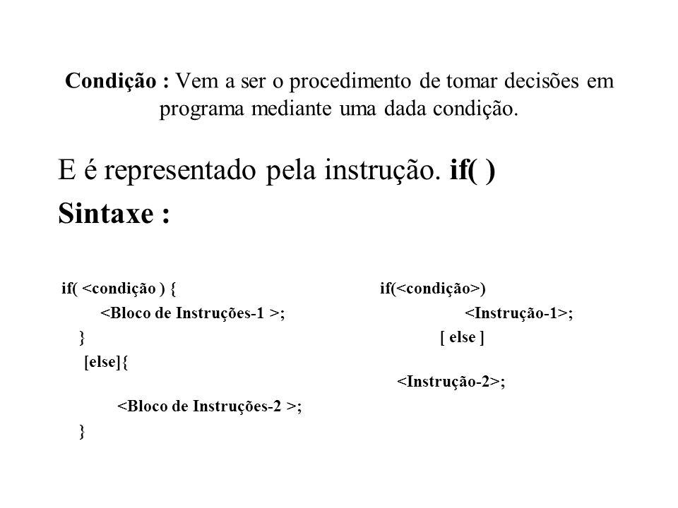 E é representado pela instrução. if( ) Sintaxe :