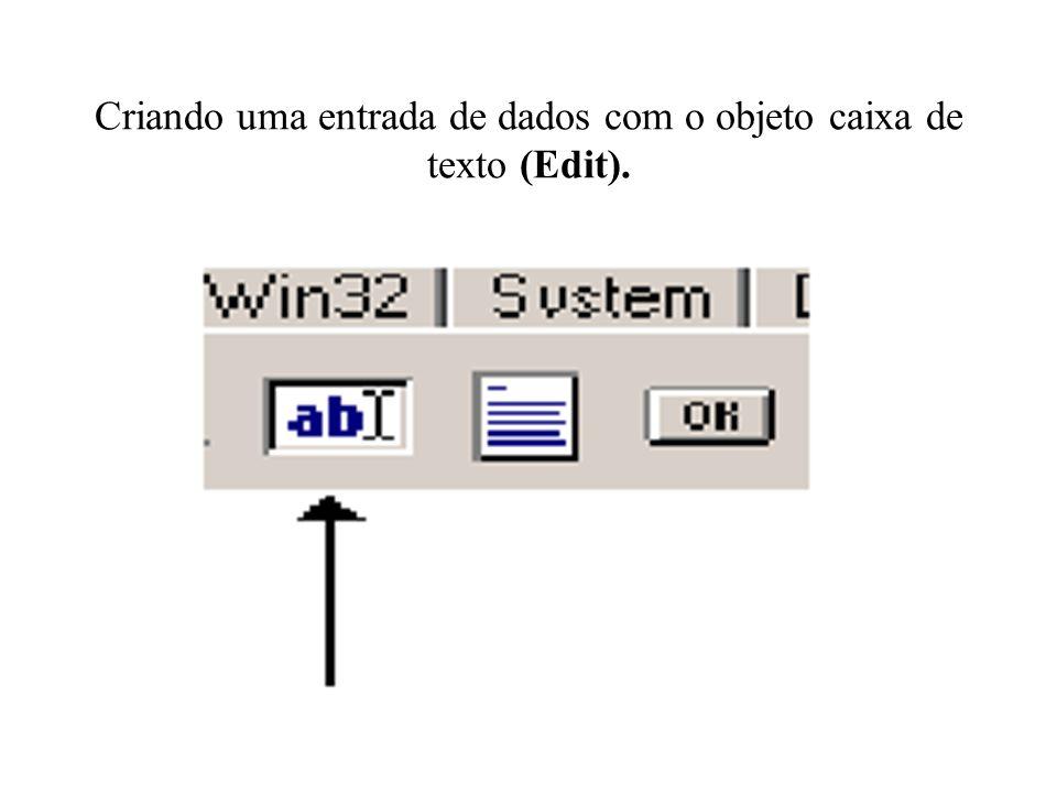 Criando uma entrada de dados com o objeto caixa de texto (Edit).