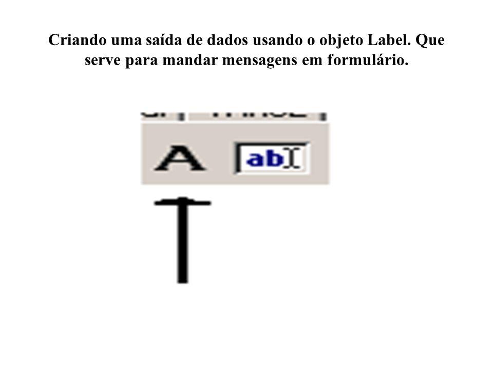 Criando uma saída de dados usando o objeto Label