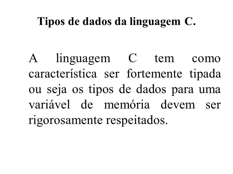 Tipos de dados da linguagem C.