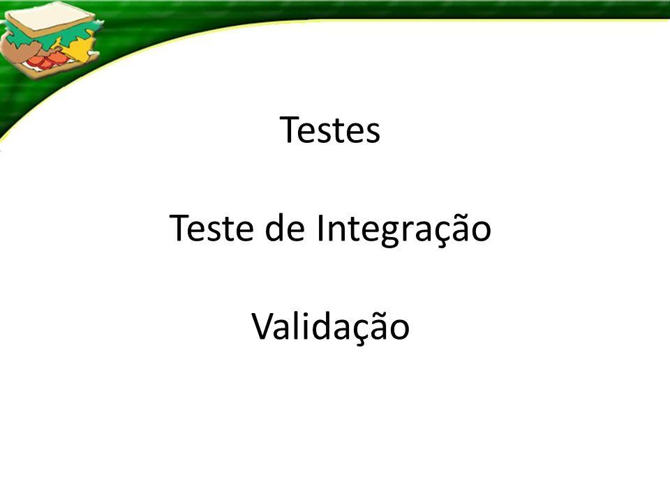 Testes Teste de Integração Validação