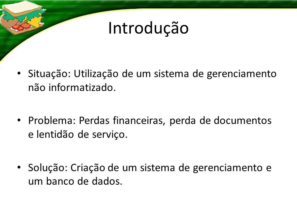 Introdução Situação: Utilização de um sistema de gerenciamento não informatizado.
