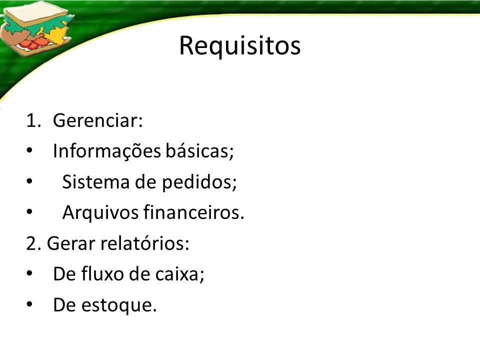 Requisitos Gerenciar: Informações básicas; Sistema de pedidos;