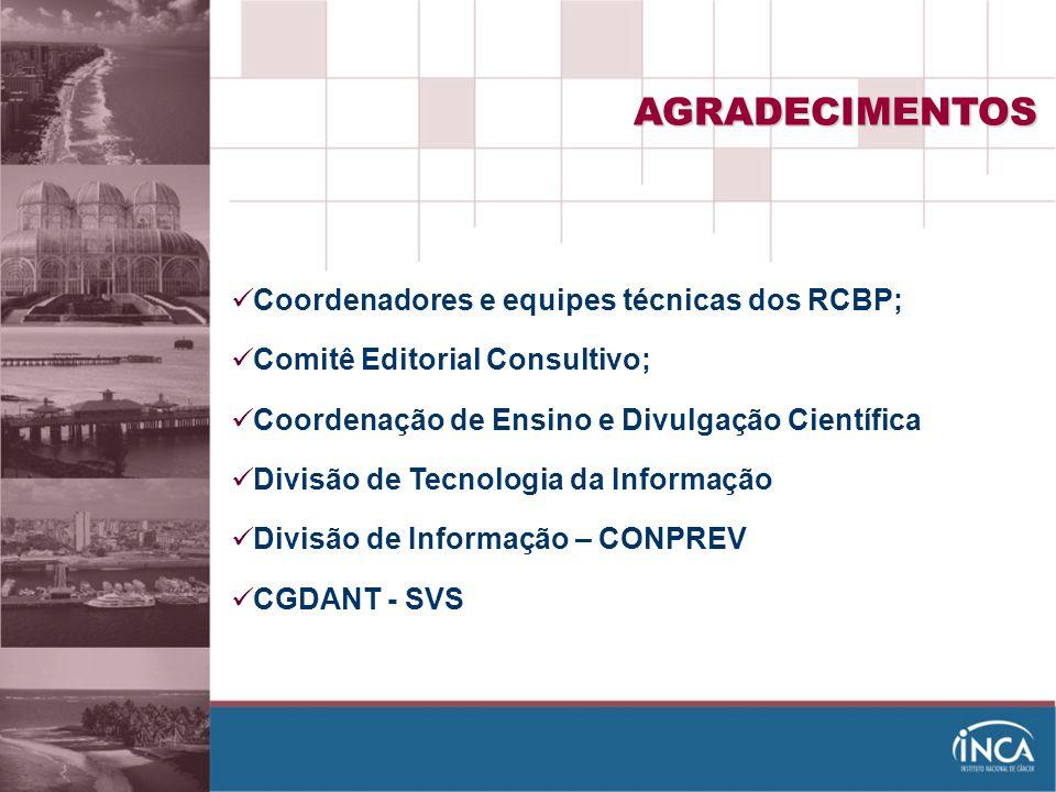 AGRADECIMENTOS Coordenadores e equipes técnicas dos RCBP;