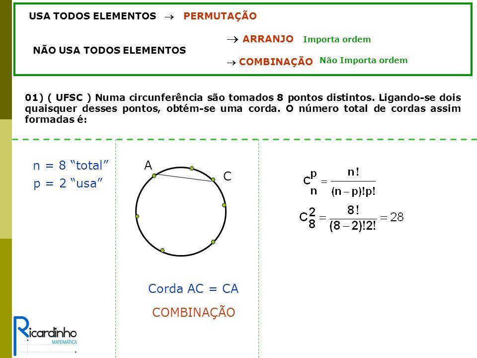 n = 8 total A C p = 2 usa Corda AC = CA COMBINAÇÃO