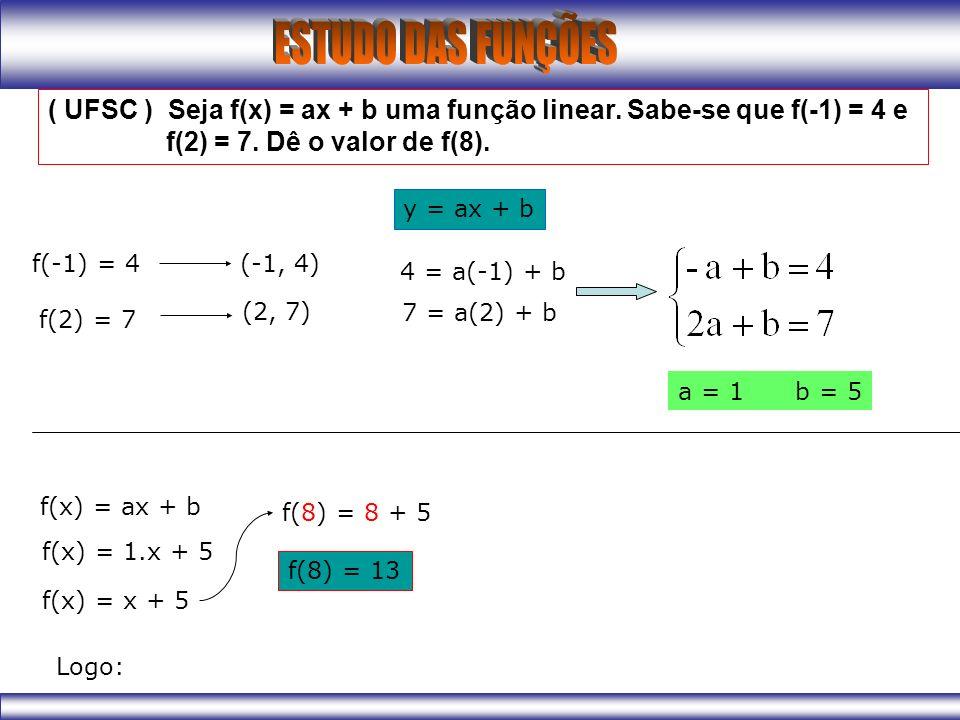( UFSC ) Seja f(x) = ax + b uma função linear. Sabe-se que f(-1) = 4 e