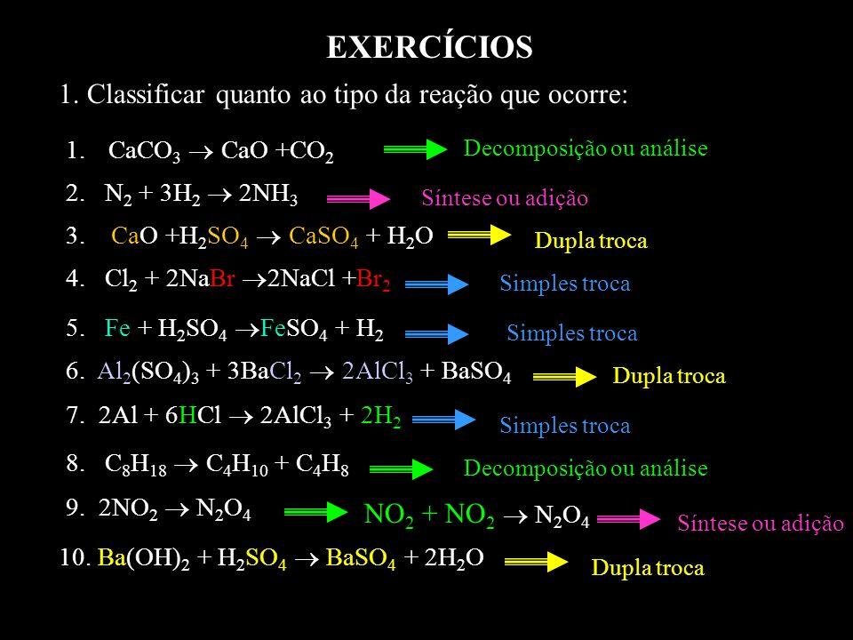 EXERCÍCIOS 1. Classificar quanto ao tipo da reação que ocorre: