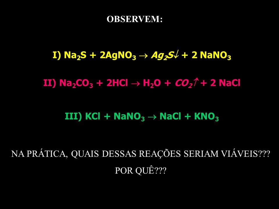 I) Na2S + 2AgNO3  Ag2S + 2 NaNO3