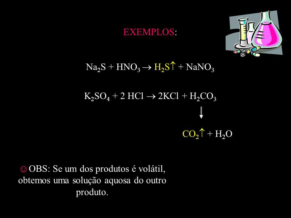 EXEMPLOS: Na2S + HNO3  H2S + NaNO3. K2SO4 + 2 HCl  2KCl + H2CO3. CO2 + H2O.