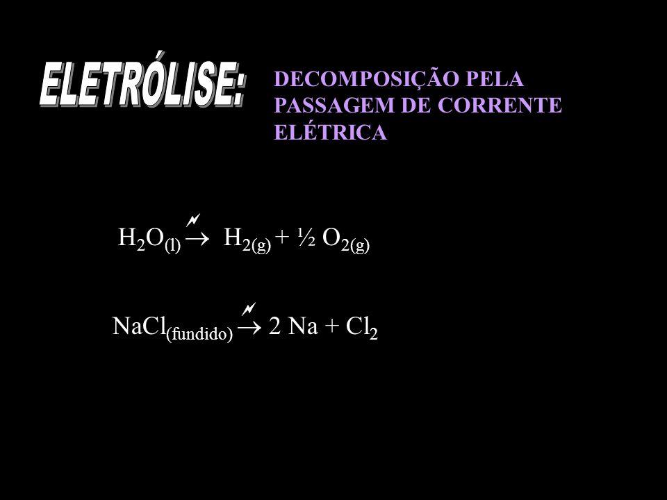 ELETRÓLISE: H2O(l)  H2(g) + ½ O2(g) NaCl(fundido)  2 Na + Cl2