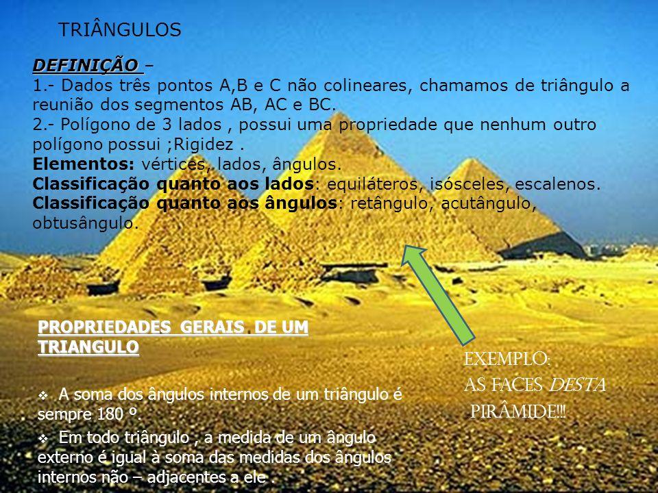 TRIÂNGULOS Exemplo: As faces desta pirâmide!!! DEFINIÇÃO –