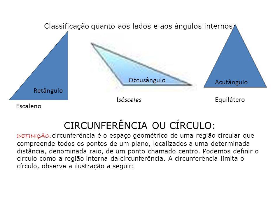 Classificação quanto aos lados e aos ângulos internos: