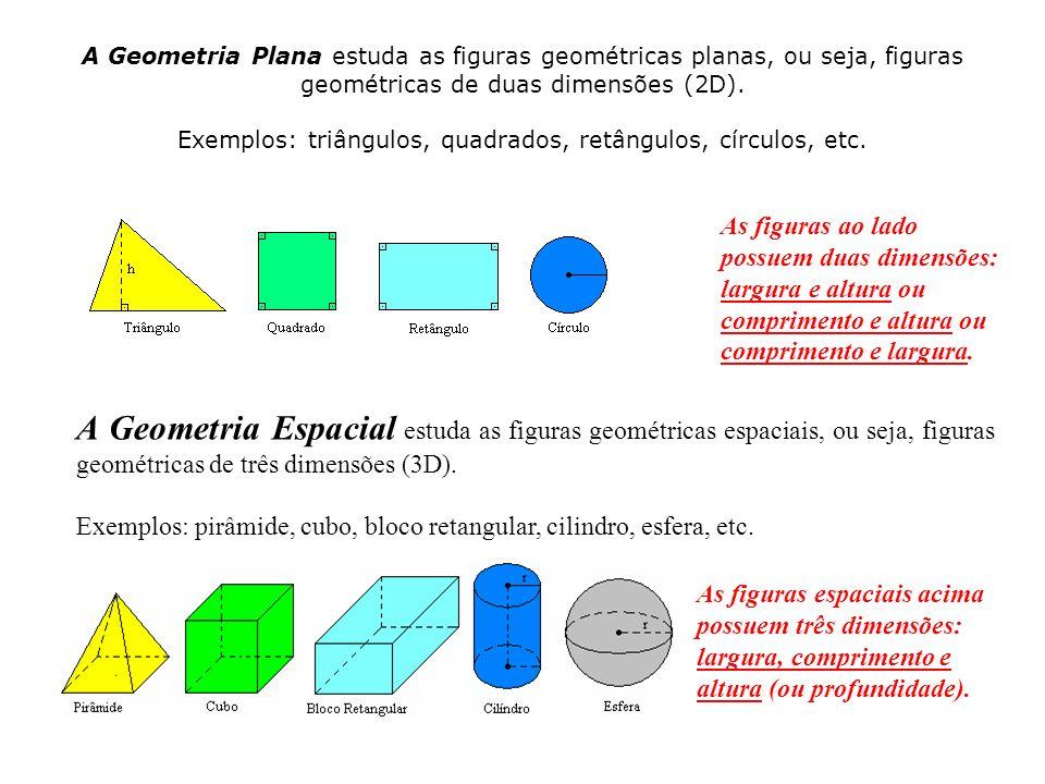 A Geometria Plana estuda as figuras geométricas planas, ou seja, figuras geométricas de duas dimensões (2D). Exemplos: triângulos, quadrados, retângulos, círculos, etc.