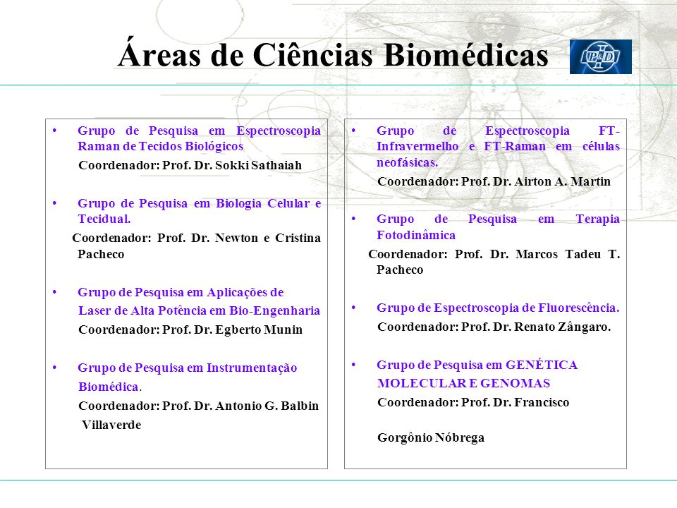 Áreas de Ciências Biomédicas