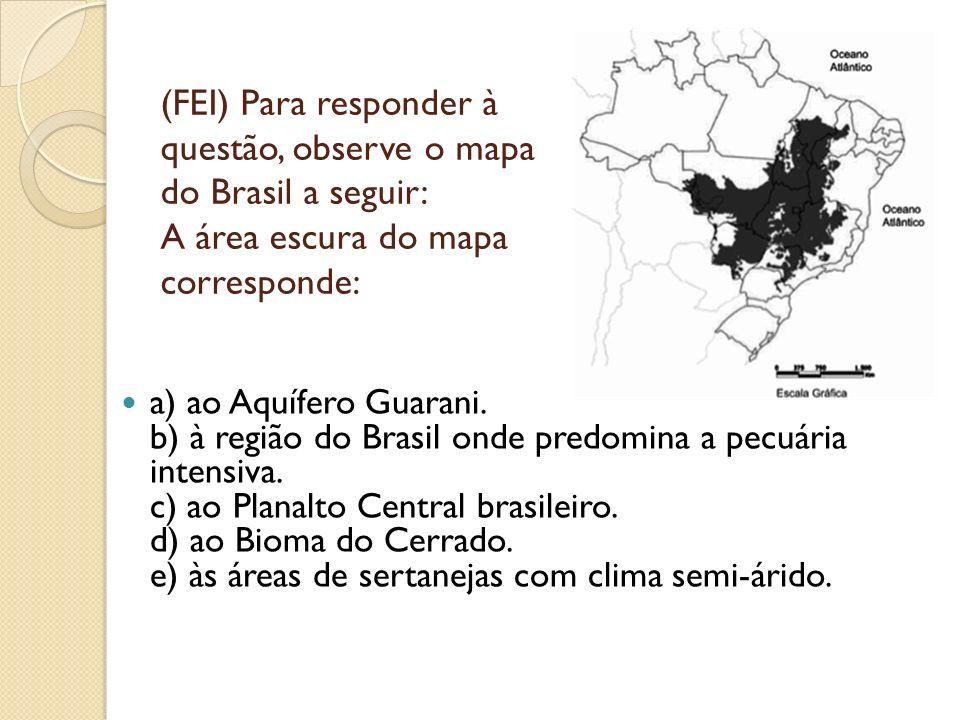 (FEI) Para responder à questão, observe o mapa do Brasil a seguir: A área escura do mapa corresponde: