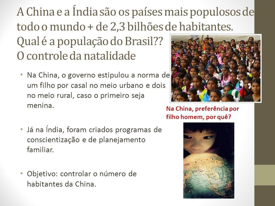 A China e a Índia são os países mais populosos de todo o mundo + de 2,3 bilhões de habitantes. Qual é a população do Brasil O controle da natalidade