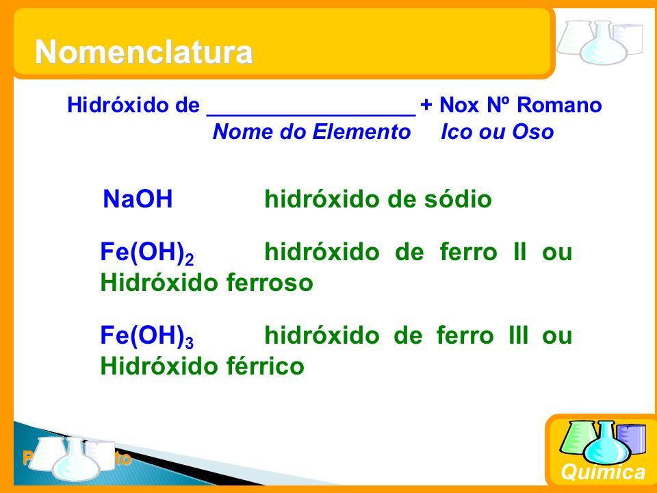 Nomenclatura NaOH hidróxido de sódio