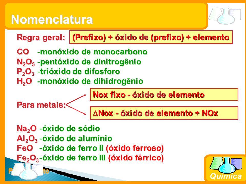 Nomenclatura Regra geral: (Prefixo) + óxido de (prefixo) + elemento CO