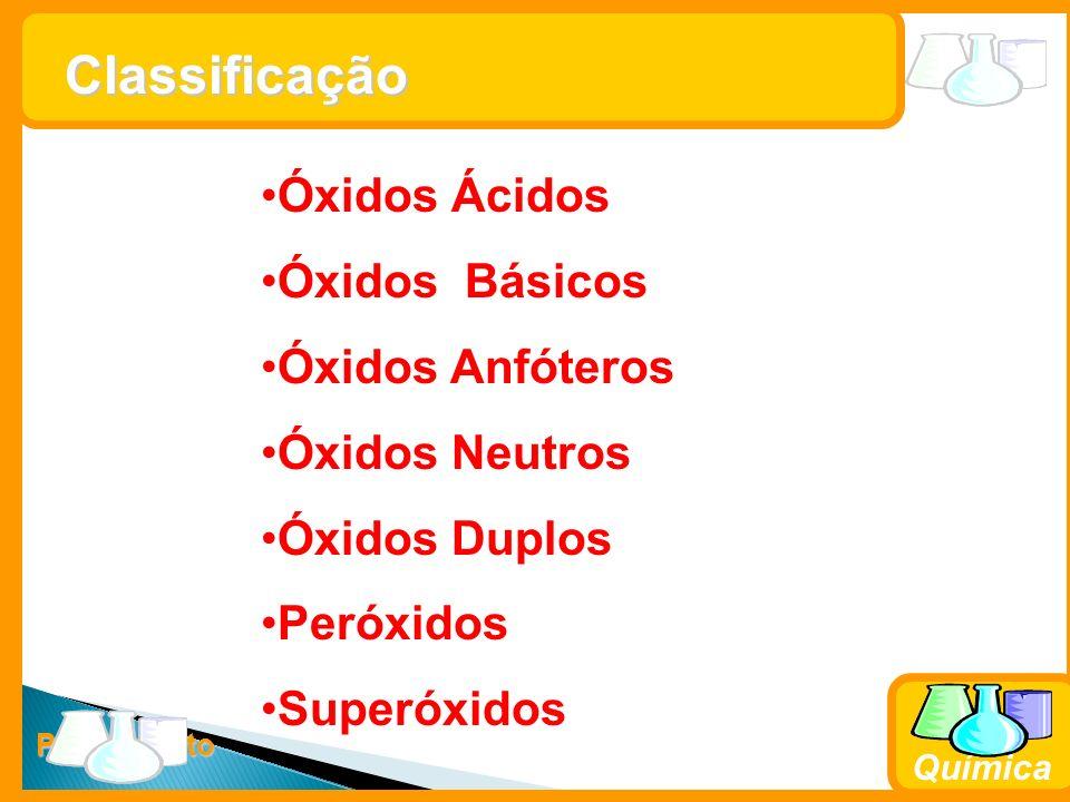 Classificação Óxidos Ácidos Óxidos Básicos Óxidos Anfóteros