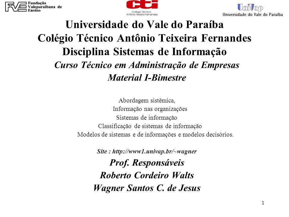 Universidade do Vale do Paraíba Colégio Técnico Antônio Teixeira Fernandes Disciplina Sistemas de Informação
