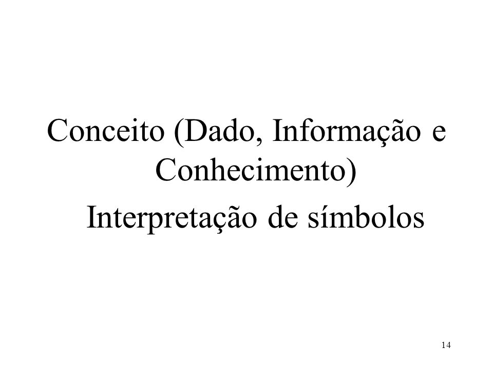 Conceito (Dado, Informação e Conhecimento) Interpretação de símbolos