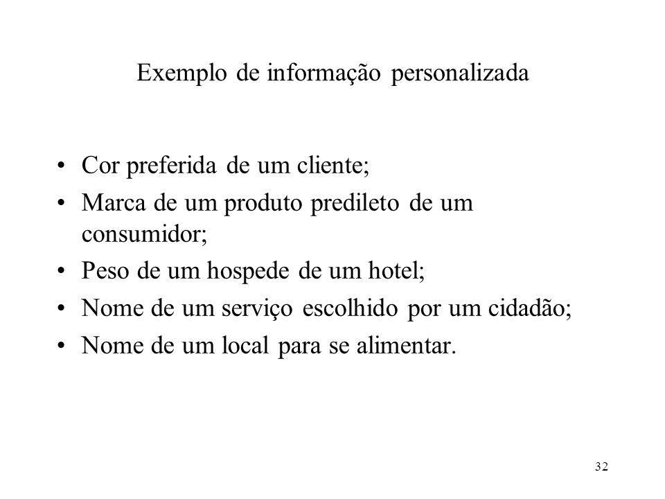 Exemplo de informação personalizada