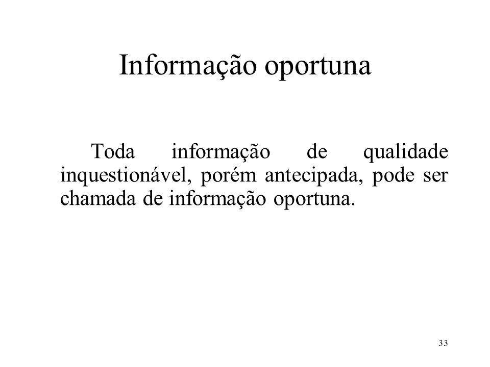 Informação oportuna Toda informação de qualidade inquestionável, porém antecipada, pode ser chamada de informação oportuna.