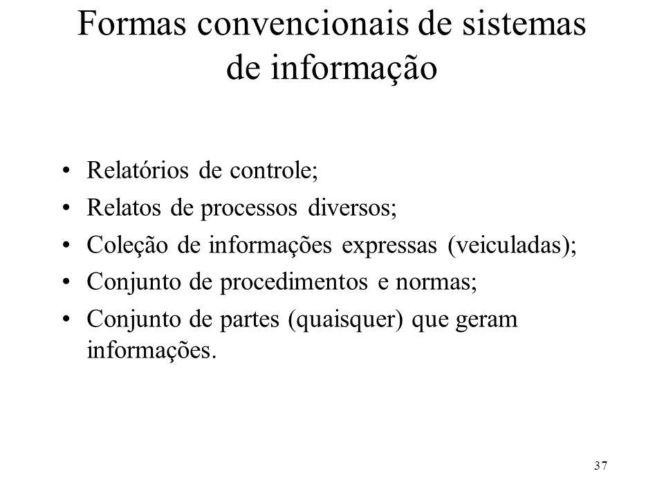 Formas convencionais de sistemas de informação