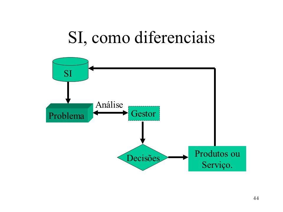 SI, como diferenciais SI Análise Gestor Problema Produtos ou Serviço.