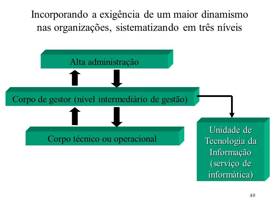 Incorporando a exigência de um maior dinamismo nas organizações, sistematizando em três níveis
