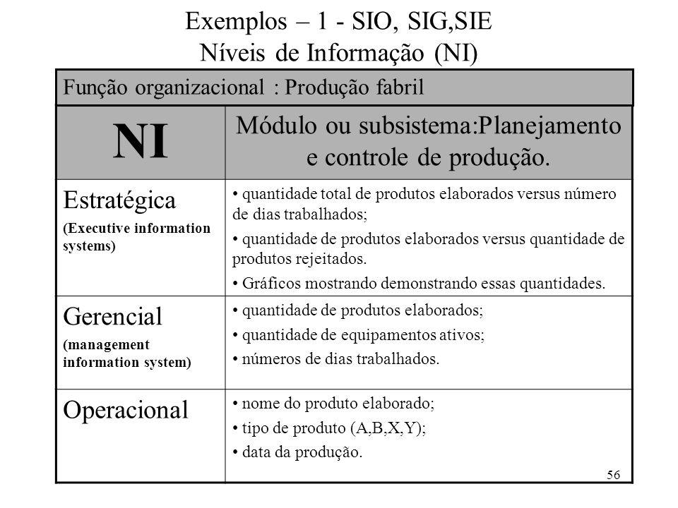 Exemplos – 1 - SIO, SIG,SIE Níveis de Informação (NI)