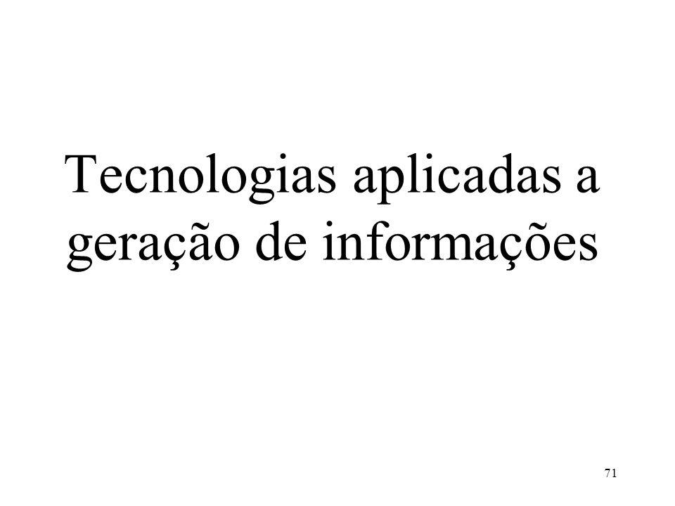 Tecnologias aplicadas a geração de informações