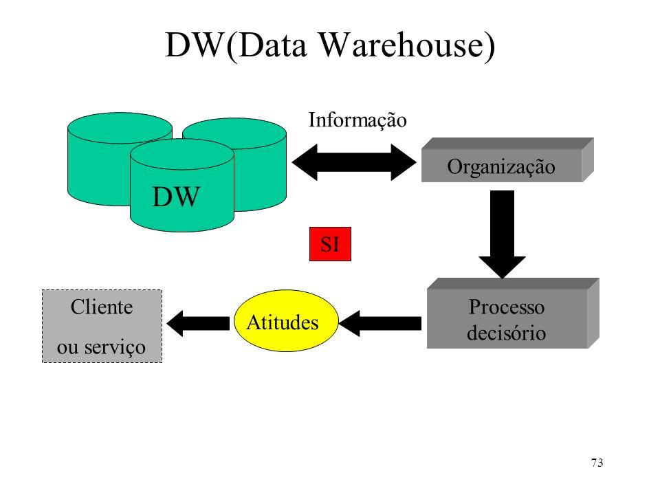 DW(Data Warehouse) DW Informação Organização SI Cliente ou serviço