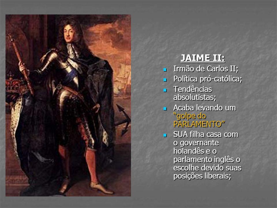 JAIME II: Irmão de Carlos II; Política pró-católica;