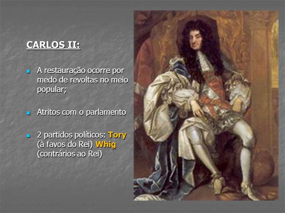CARLOS II: A restauração ocorre por medo de revoltas no meio popular;