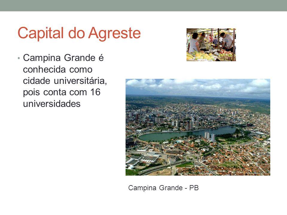 Capital do Agreste Campina Grande é conhecida como cidade universitária, pois conta com 16 universidades.