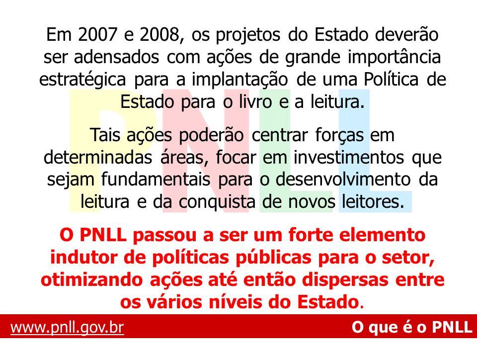 Em 2007 e 2008, os projetos do Estado deverão ser adensados com ações de grande importância estratégica para a implantação de uma Política de Estado para o livro e a leitura.