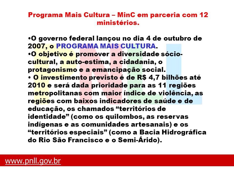 Programa Mais Cultura – MinC em parceria com 12 ministérios.