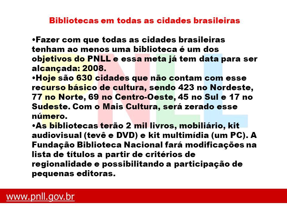 Bibliotecas em todas as cidades brasileiras