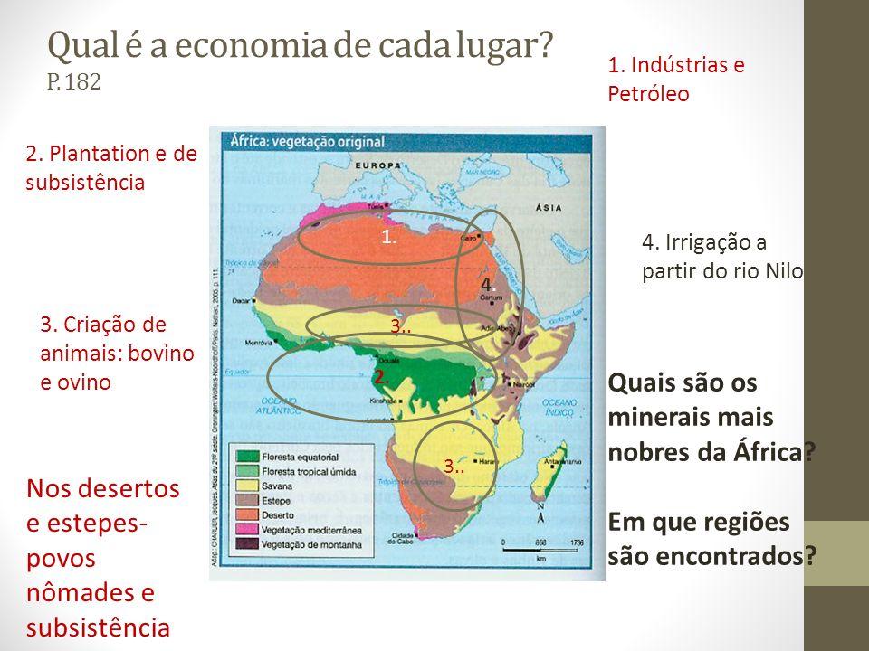 Qual é a economia de cada lugar P. 182