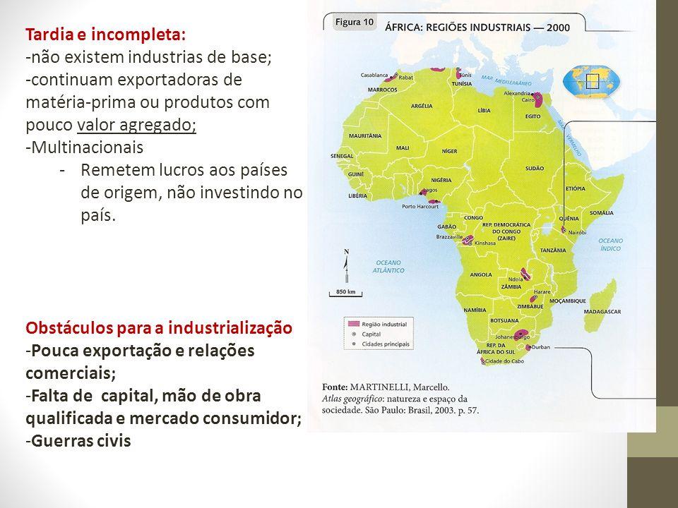 Tardia e incompleta: não existem industrias de base; continuam exportadoras de matéria-prima ou produtos com pouco valor agregado;