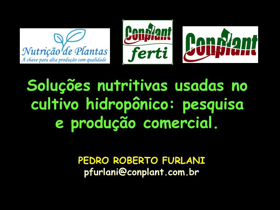 Soluções nutritivas usadas no cultivo hidropônico: pesquisa e produção comercial.