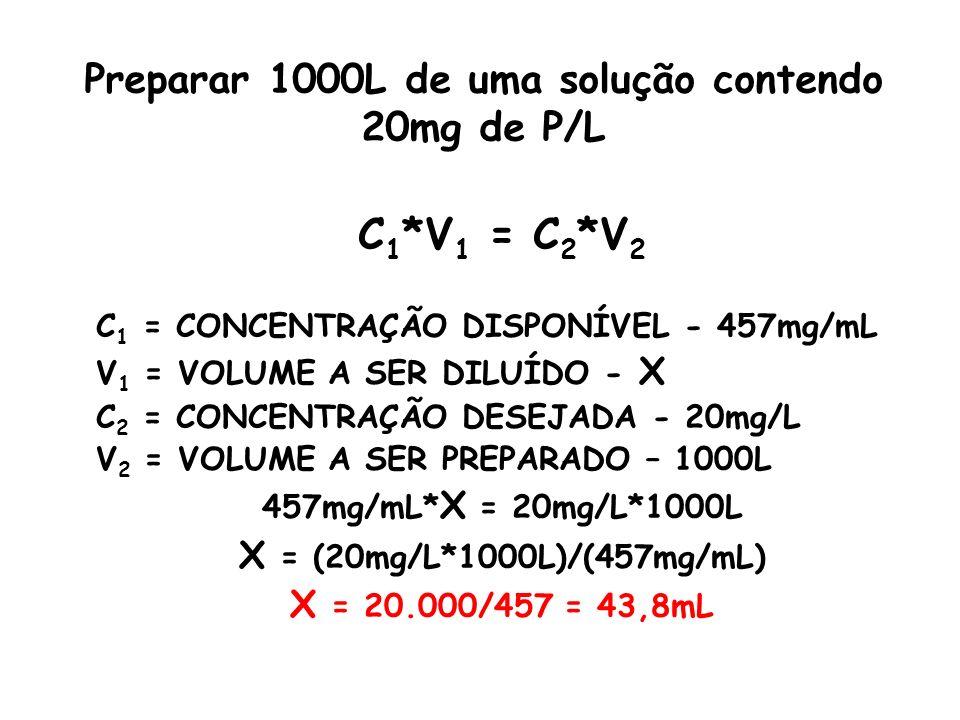 Preparar 1000L de uma solução contendo 20mg de P/L